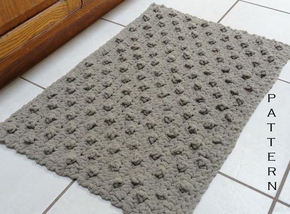 Crochet Rug Pattern Bumpy Bath Mat Crochet Bathroom Rug Etsy Crochet Rug Patterns Diy Crochet Rug Crochet Rug