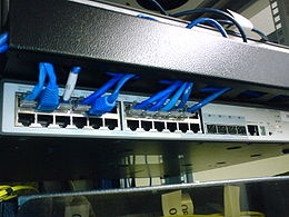 Network switch - Wikipedia, the free encyclopedia - Rack-mounted 24-port 3Com switch