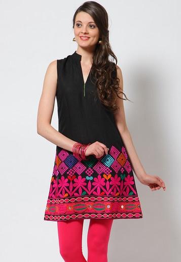 Sleeve Less Embellished Black Kurti - Mksp - KURTIS  KURTAS - WOMEN
