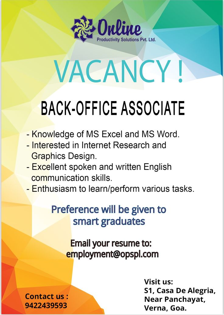 Superior #Job #Vacancy Looking For Smart #Graduates To Work As A Back Office