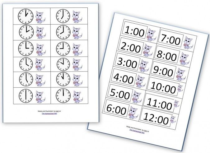 The kids are reviewing time in math at the moment.  Going with the same kitty theme (see the preschool math sheets I made Counting Kitties from Monday's post), I made clocks cards for ED. If you're interested in these two pages, you'll need to click on both links %5