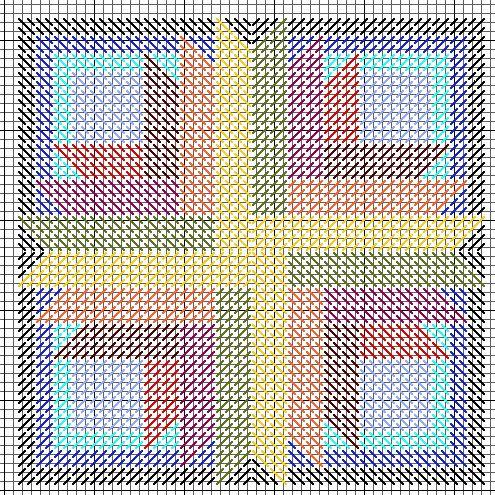 Sunburst Mosaic Ornament -- Free Needlepoint Pattern - Nuts about Needlepoint