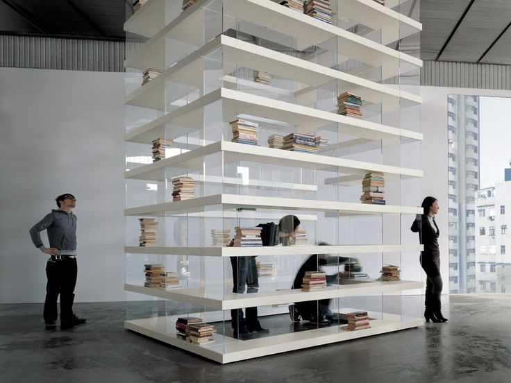Open freestanding wood and glass bookcase AIR by @lagofurniture