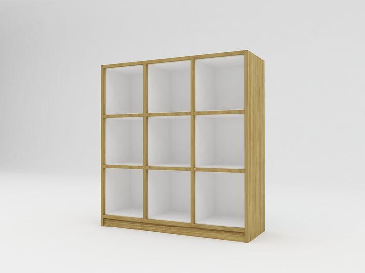 Minimalist modern furniture - Rak Kayu Minimalis 9 kotak - White Elegant Teak
