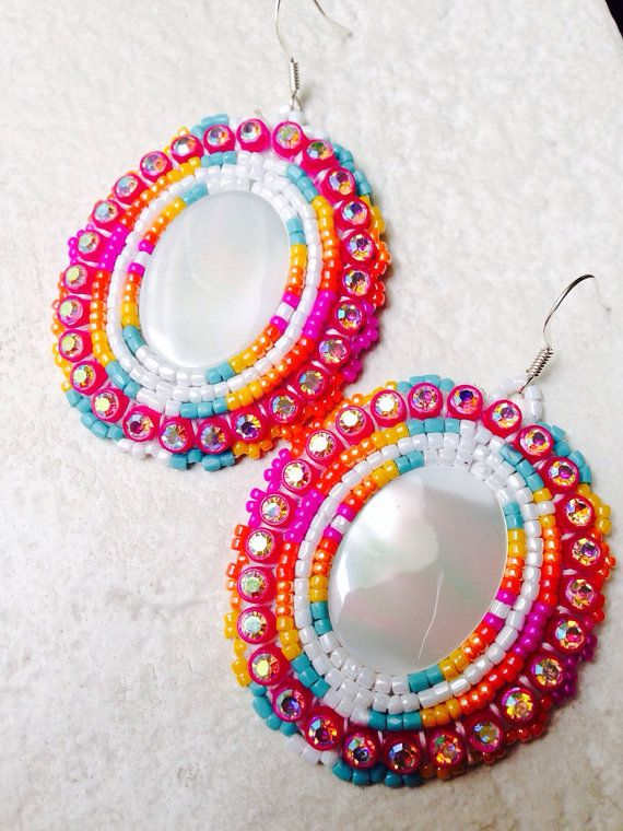 Native American Beaded Earrings: Pink Sunset Earrings on Etsy, $25.00