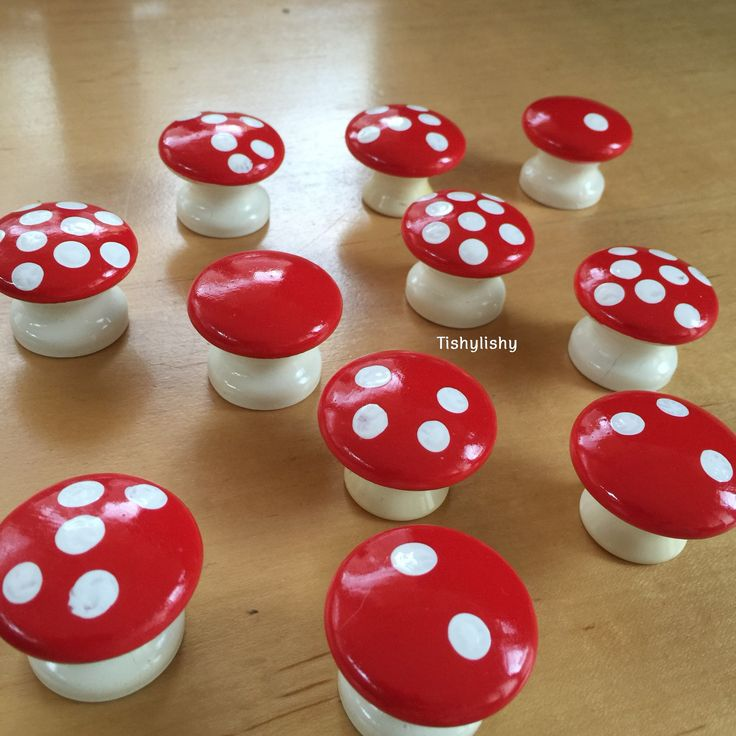 Homemade toadstools using drawer knobs.