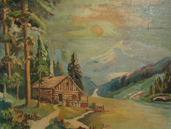 Vintage retro oil painting of a log cabin log cabins for Log cabin painting