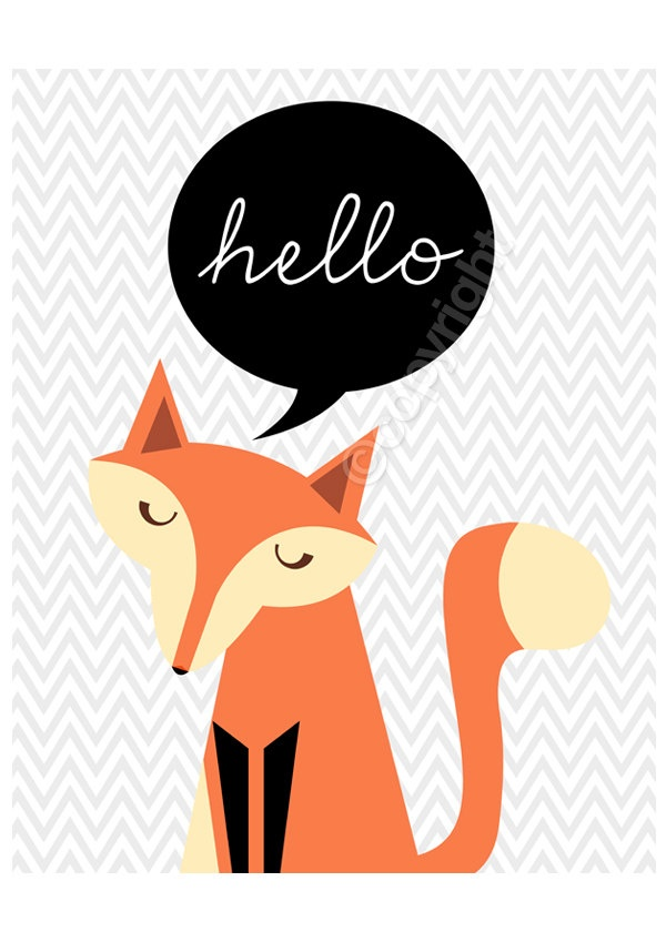Miss Fox says Hello - 8x10 inch print featuring lovely fox and gray chevron background