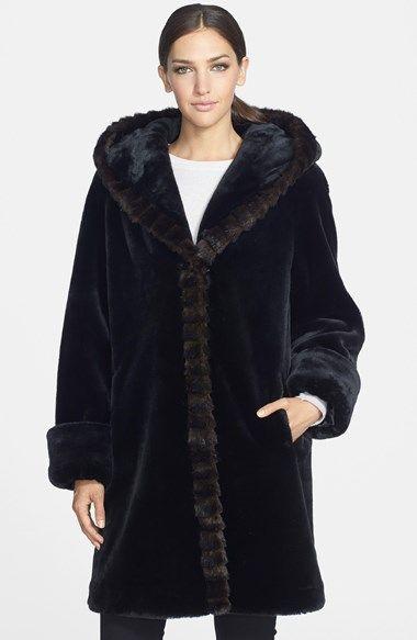 Gallery Hooded Faux Fur Walking Coat Online Only