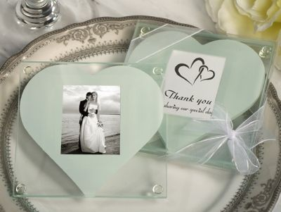 Unique Square Glass Photo Coaster With Heart Design Cut Out