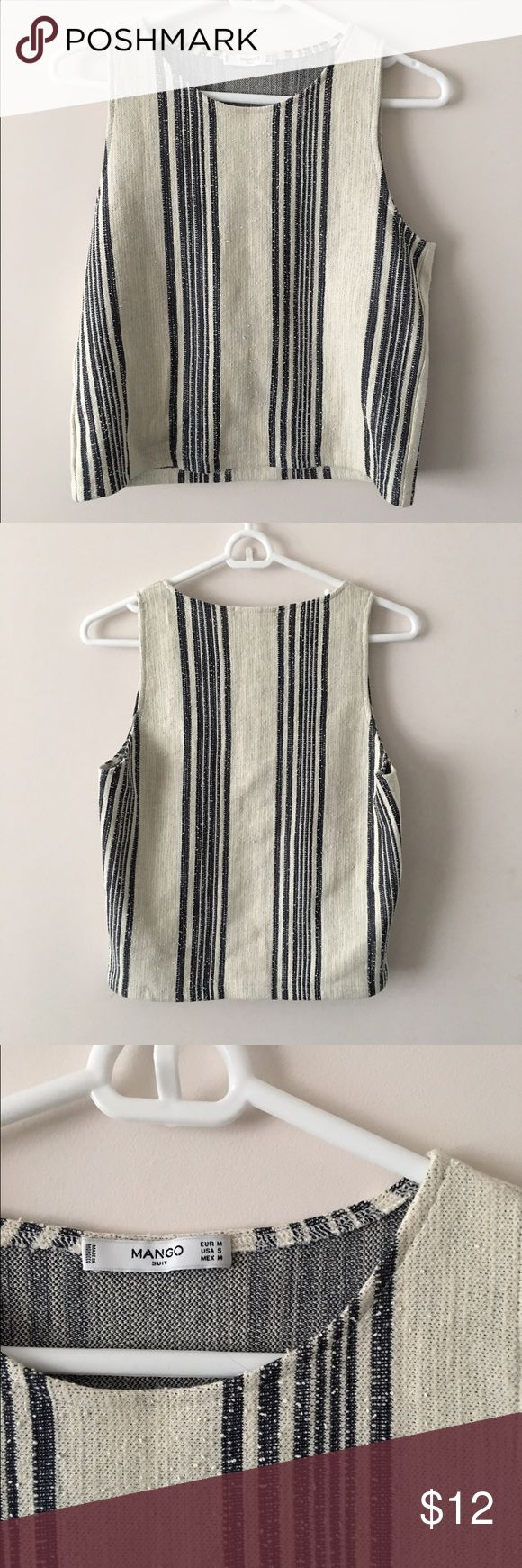 Mango Tweed Striped Top Mango tweed sleeveless top with white and blue pin stripes. Bought in a Mango store in Milan, Italy and never worn. Absolutely perfect condition and great for the warmer months! Mango Tops Tank Tops