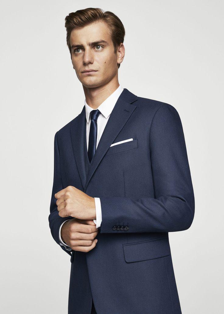 Americana traje slim-fit estructura - Trajes de Hombre | MANGO Man España