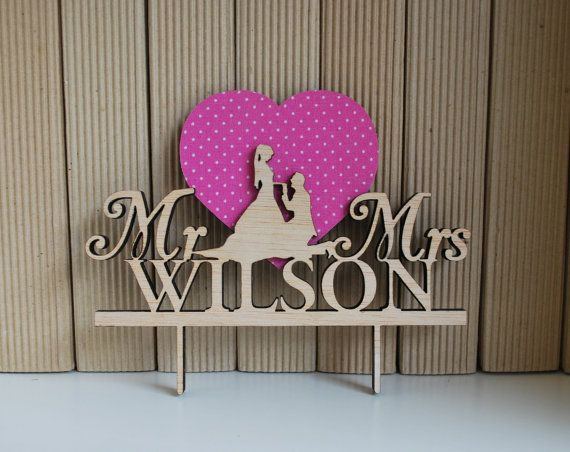 Pink Wedding Cake Topper  Rustic Cake Topper  Mr & by WoodYourDay