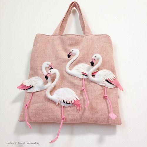 """Flamingo felt applique and embroidery mini bag by e.no.bag """"フラミンゴ ノ バッグ """" #flamingo #felt #embroidery"""