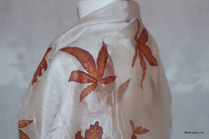 Hand painted silk shawl, silk scarf, autumn shawl, autumn fashion, maple leaves, golden leaves, handmade, gift for her, s8 by MaKatarina on Etsy