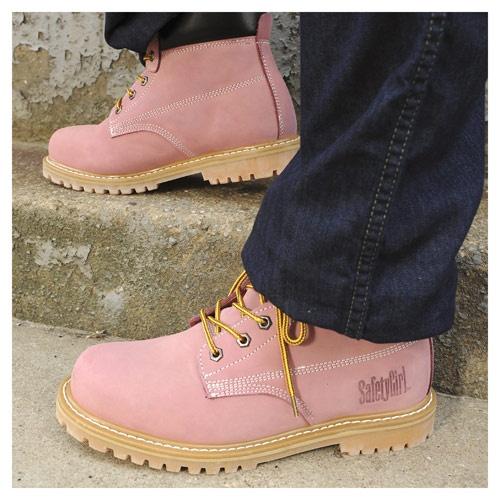 Steel Toe Waterproof Womens Work Boots - Light Pink