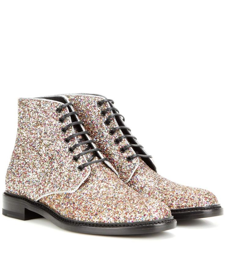 SAINT LAURENT Lolita 20 Glitter Boots. #saintlaurent #shoes #boots