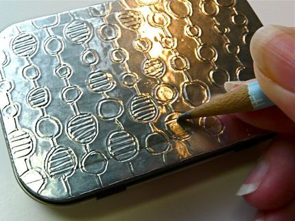How to make Embossed Tins using 2 layers of aluminum foil tape (from the hardware store) never thought to use this tape! Ideas are endless.......