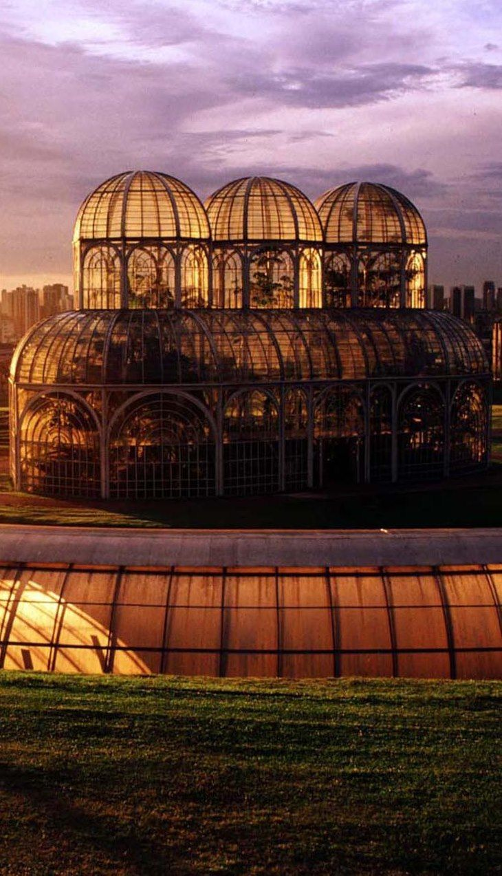 Greenhouse at the Botanical Garden of Curitiba, Brazil. Curitiba is the capital and largest city of the Brazilian state of Paraná.