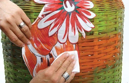 decoupage fabric wicker laundry hamper flower pattern