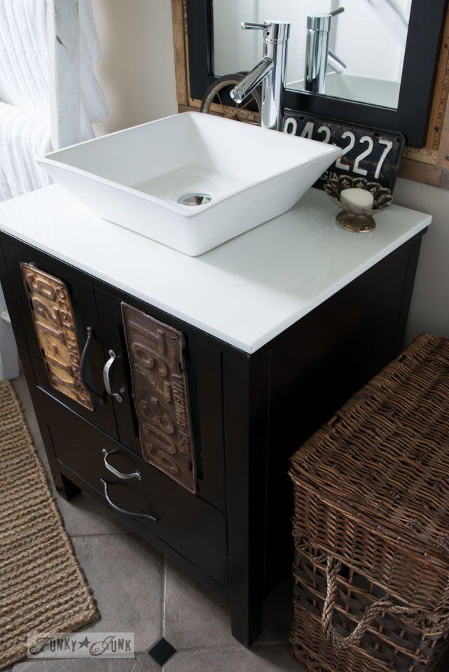 Vessel sink and vanity by VirtuUSA / Salvaged farmhouse bathroom makeover via http://www.funkyjunkinteriors.net/