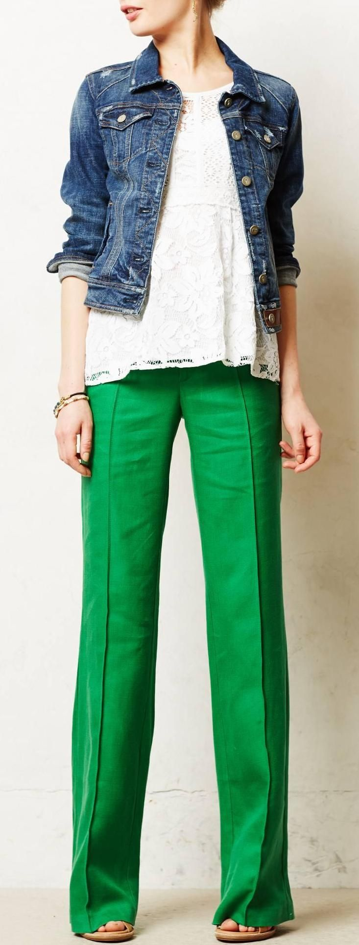Brighton Linen Wide Legs in bold color, soft girly lace and edgy jean jacket, great look for anything