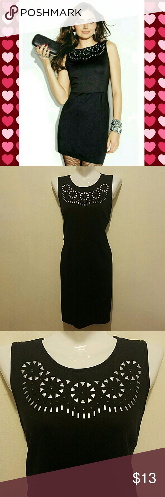 Little black dress BOGO SALE!! Sleeveless dress with boat neck and beautiful metallic embellishment in front.zipper on back,soft material.just wore once.excellent condition. mark from avon Dresses
