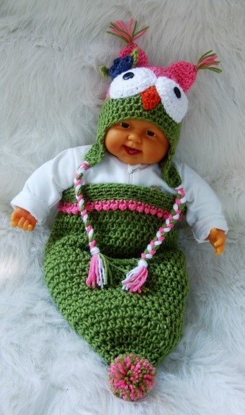 Pink/Green Owl Cocoon and Hat