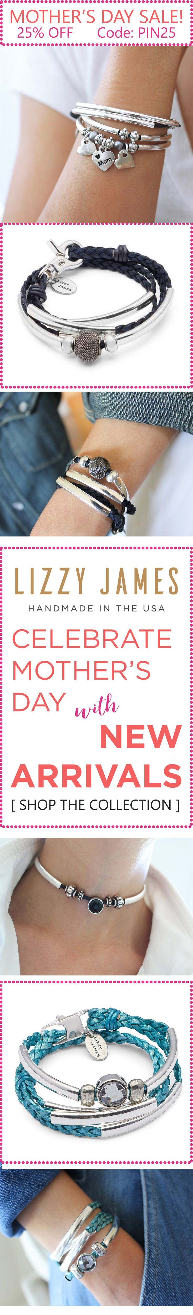 Lizzy James NEW Arrivals plus online exclusives just in time for Mother's Day! Get 25% OFF with CODE - PIN25 plus Free Shipping during our Mother's Day Sale. Featuring NEW colored braided leather wrap bracelets, charm bracelets, chokers, earrings and rings. Handcrafted in the USA. #MadeInUSA