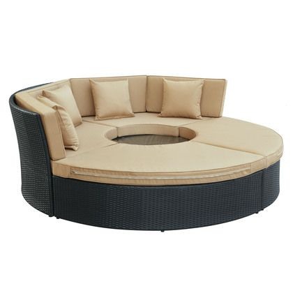 Modway Pursuit Circular Daybed Set in Espresso Mocha