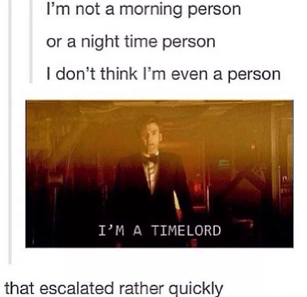 I'm a Time Lord. and he is a hot time lord.....oh david tennant
