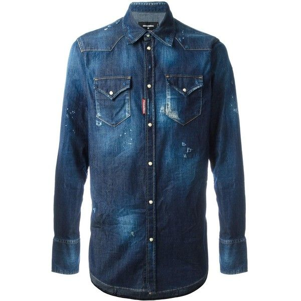 Dsquared2 distressed denim shirt (1.925 BRL) ❤ liked on Polyvore featuring men's fashion, men's clothing, men's shirts, men's casual shirts, blue, men's spread collar dress shirts, mens blue shirt, mens bleached shirt and mens curved hem t shirt