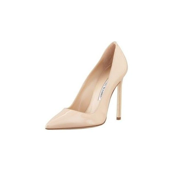 Manolo Blahnik BB Point-Toe Pumps in Nude via Polyvore featuring shoes, pumps, pointed toe pumps, pointy toe pumps, nude court shoes, manolo blahnik shoes e pointy toe shoes