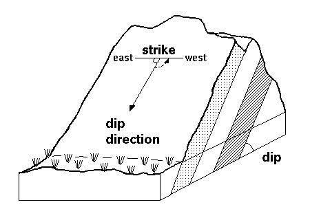 Strike and dip refer to the orientation or attitude of a geologic feature. The strike line of a bed, fault, or other planar feature, is a line representing the intersection of that feature with a horizontal plane. On a geologic map, this is represented with a short straight line segment oriented parallel to the strike line.