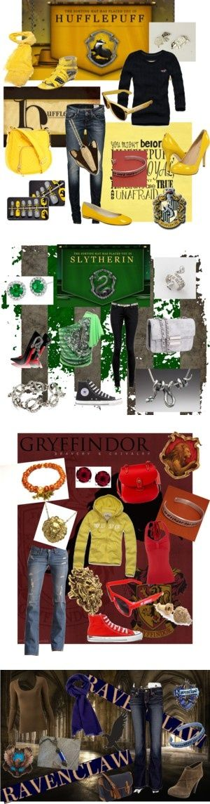 """A working day off at Hogwarts"" on Polyvore I really like the Slytherin and Ravenclaw outfits s..."