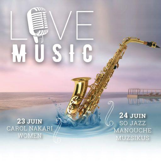 La fête de la musique est passée   C'est une parfaite occasion de vous annoncer que les soirées LIVE MUSIC sont de retour au Cap Estel ! Et cette année la mise est doublée ;) Dès ce weekend, les vendredis et samedis, rendez-vous au bord de la piscine !