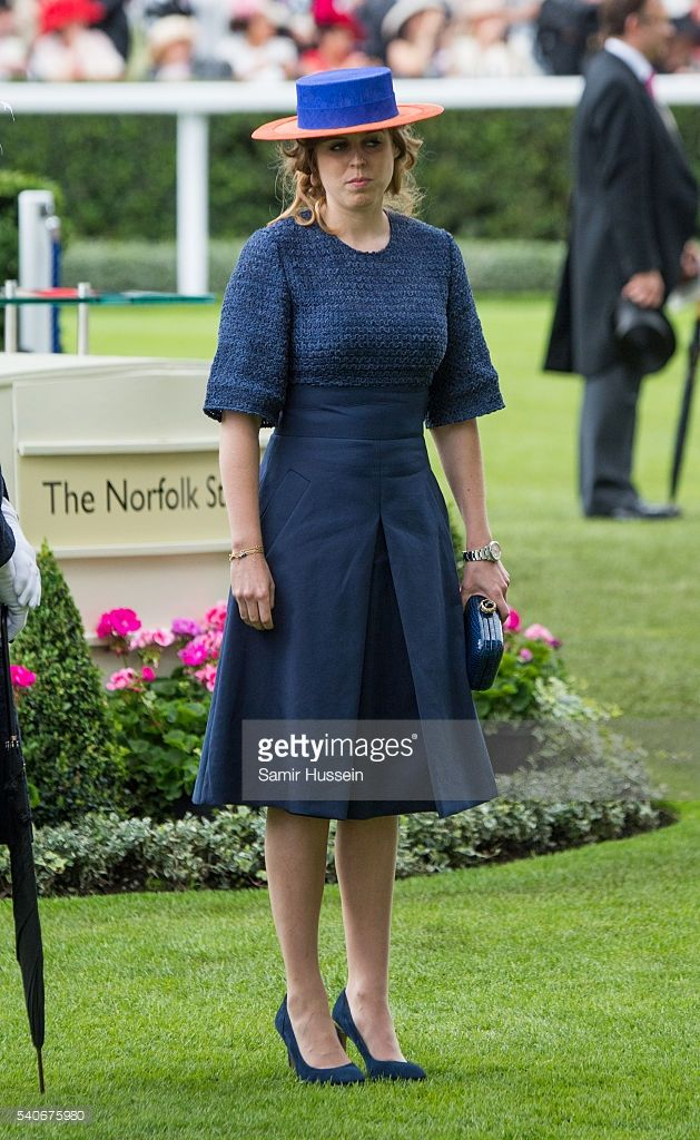 Princess Beatrice attends day 3 of Royal Ascot at Ascot Racecourse on June 16, 2016 in Ascot, England.