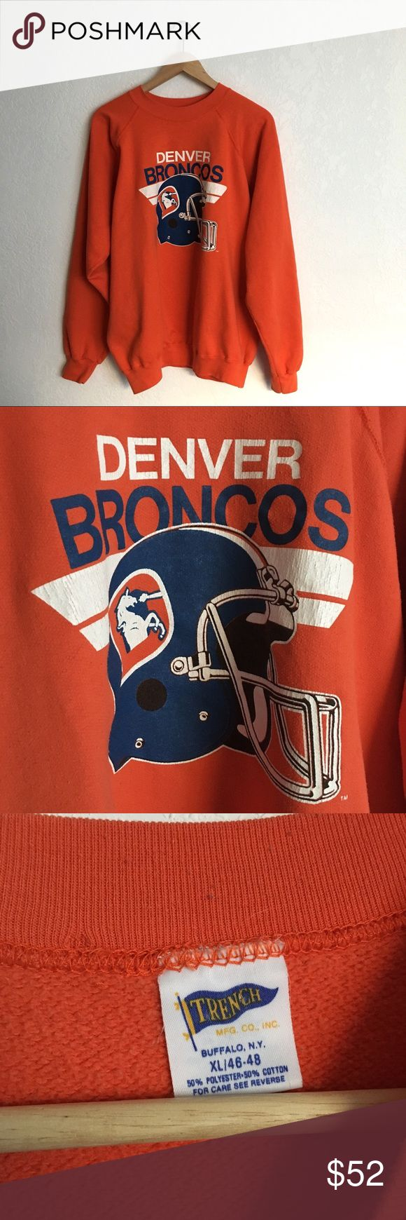 Vintage Denver Broncos Sweatshirt Classic Broncos logo. Tag size XL. Suggested size for ladies XS-M. Vintage Tops Sweatshirts & Hoodies