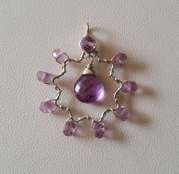 Amethyst Briolette Faceted Gemstone Sterling Silver Nine-Pointed Star Wirewrapped Bah�'� Star Pendant or Necklace