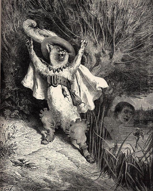 """Illustration de Gustave Doré, """"Le Chat botté"""" [Puss in Boots], dans les """"Contes de Perrault"""""""