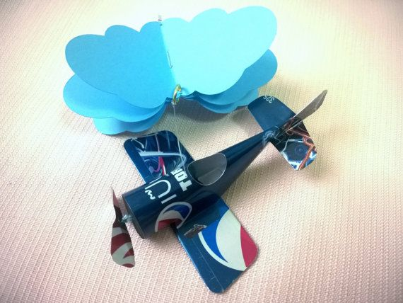 Mini mobile airplane soda can handcrafted.3 by JCwings on Etsy