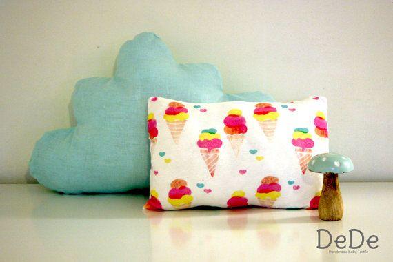 Ice Cream Pillow  Ice Cream Cushion  Heart by DedeBabyTextile