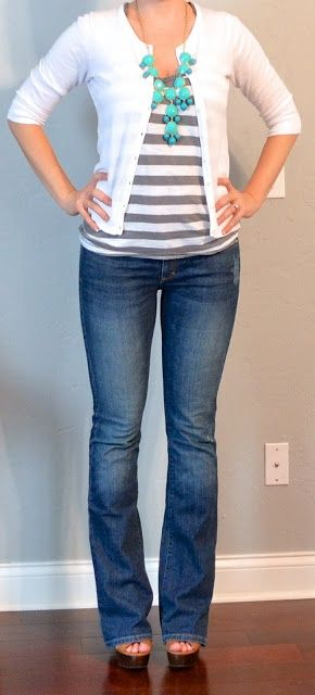 Work - casual Friday - grey striped tee, teal jewelry, white cardigan, jeans