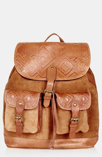 Ready to go! Tan Topshop Suede Backpack