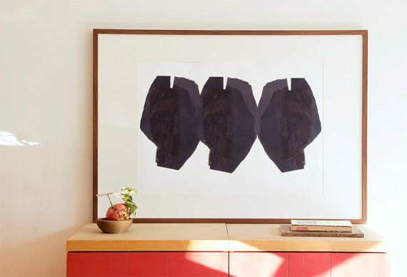 Black Abstract Heads, Minimalist Contemporary Wall Art, Modern Art Poster Painting, Large Art Print