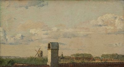 Christen Købke (1810-48), View from a Window in Toldbodvej Looking towards the Citadel in Copenhagen, c. 1833
