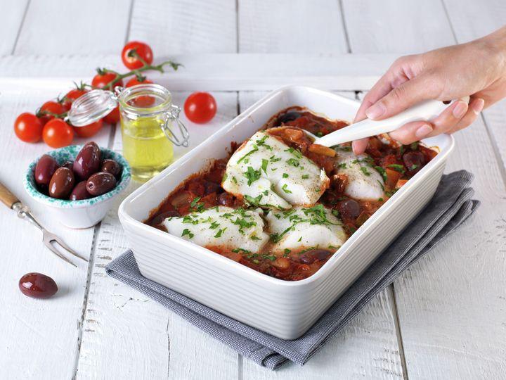 Bakt torsk med tomat og oliven
