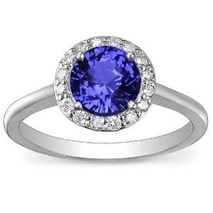 18K White Gold Sapphire Halo Diamond Ring, top view (Breathtaking) <3