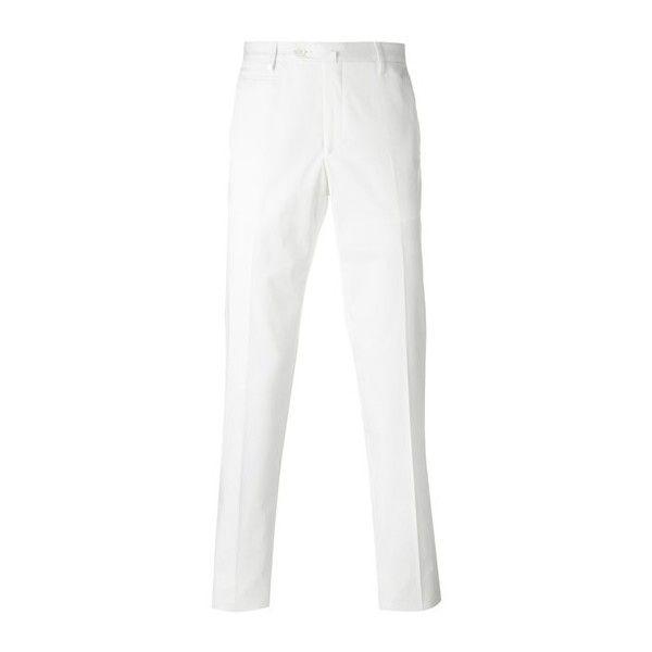 CORNELIANI Straight Leg Trousers ($234) ❤ liked on Polyvore featuring men's fashion, men's clothing, men's pants, men's casual pants, white and mens white pants