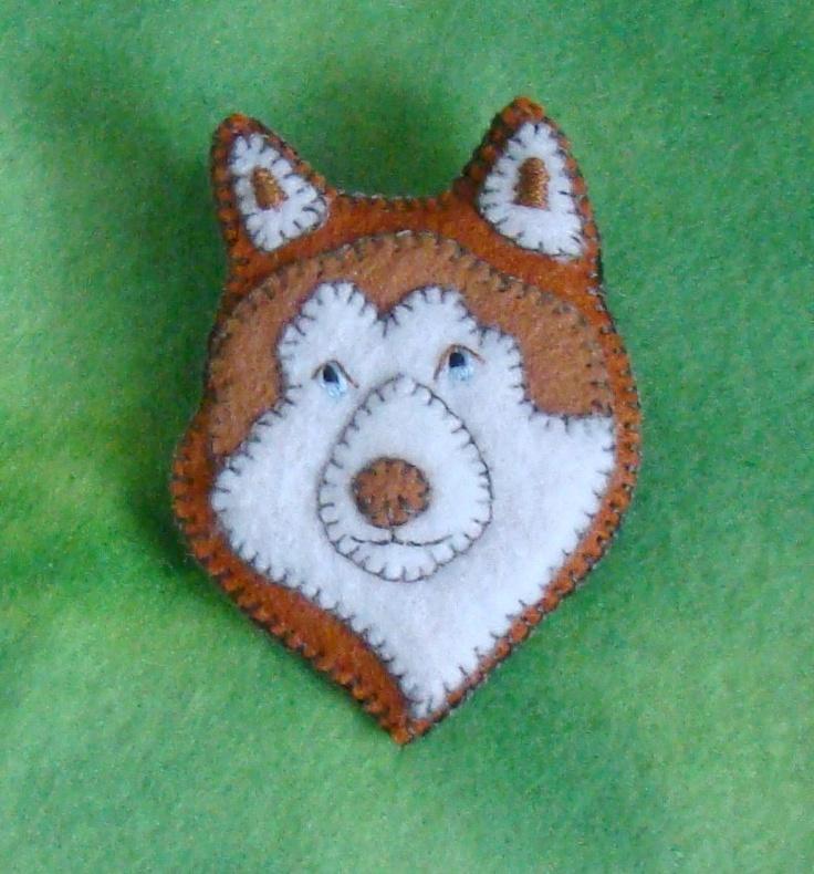 Siberian Husky pin/ornament-hand embroidered felt. $15.00, via Etsy.